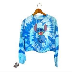 Cute!! DISNEY Tie-Dye Crop Top Lilo & STITCH Blue